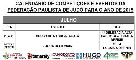 Ano 2015.07 - Calendario Evento de Judo - Julho