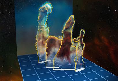 visualização de dados 3D dos Pilares da Criação