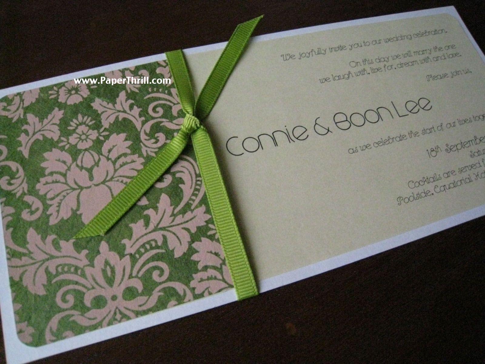 Green damask wedding, damask wedding invitations