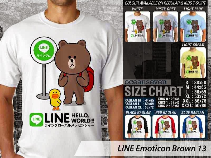 KAOS IT LINE Emoticon Brown 13 Social Media Chating distro ocean seven
