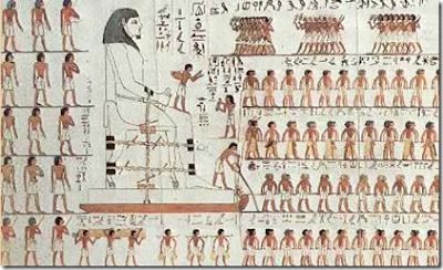 Transporte de una estatua colosal. Pintura al fresco. XI dinastía. Tumba del príncipe Dyehutihotep.