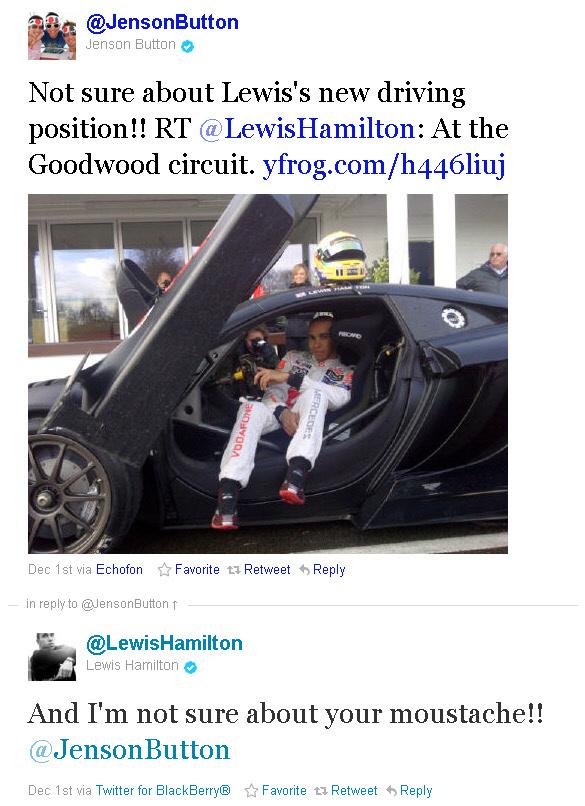 перепалки Льюиса Хэмилтона и Дженсона Баттона в твиттере 1 декабря 2011