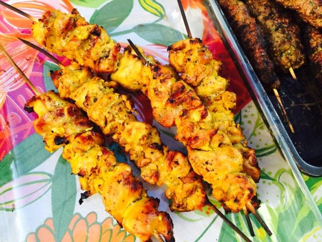 Chicken, orange and saffron skewers
