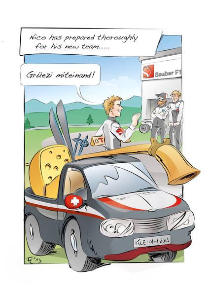 комикс Нико Хюлькенберг приезжает к своей новой команде Sauber