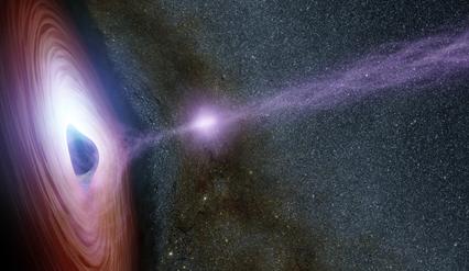 ilustração de um buraco negro spermassivo emitindo enorme explosão
