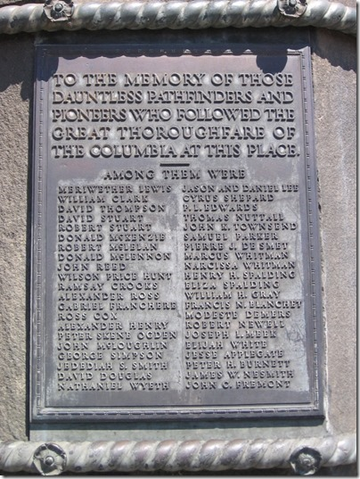IMG_7799 Plaque on Pioneer Monument in Wishram, Washington on July 3, 2009