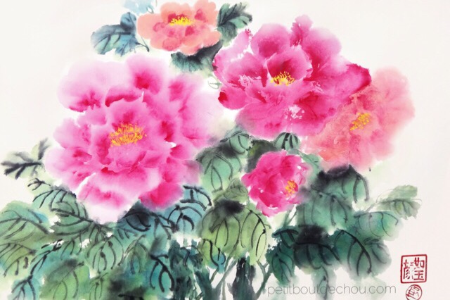 chinese painting pink peonies