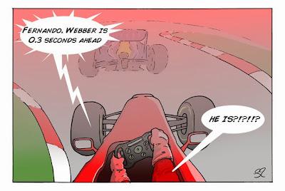 Фернандо Алонсо преследует Марка Уэббера - комикс Stuart Taylor по Гран-при Индии 2013