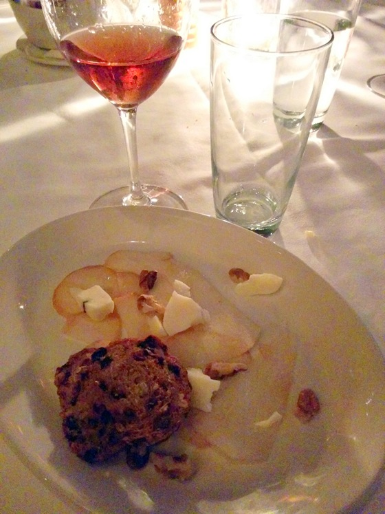 Truffled Peccorino Cheese Plate with Bosc Pear, Walnuts, and Pecan Crisps