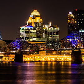 Louisville by Andrew Butcher - City,  Street & Park  Skylines ( riverside, louisville, brown, long exposure, night )