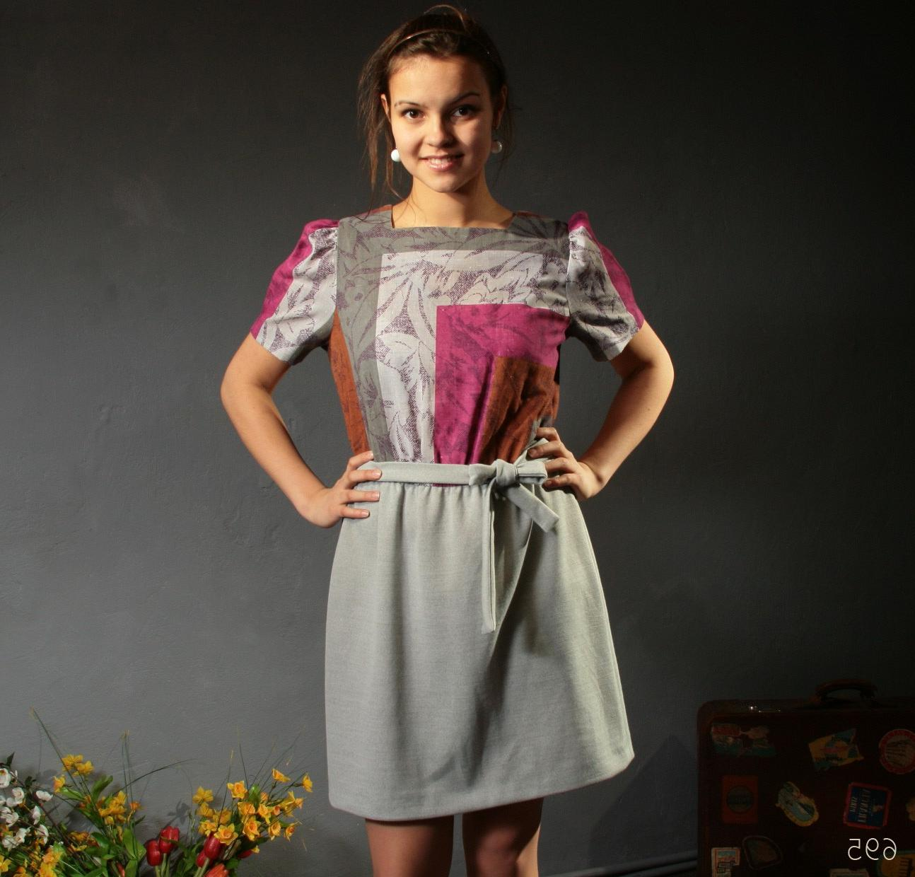 Vintage Geometrical Dress   Gray and Purple Colorblock   Medium