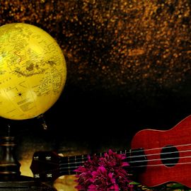 by Dipali S - Artistic Objects Other Objects ( music, ukelele, still life, chrysanthemum, flowers, world, globe )