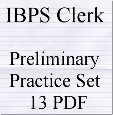 IBPS Clerk Preliminary Question paper PDF Set 13