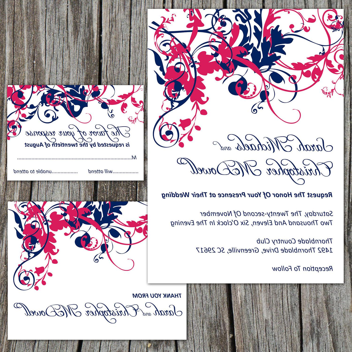 Printable Wedding Invitation Suite Package, RSVP Reply Card, Thank You Card,