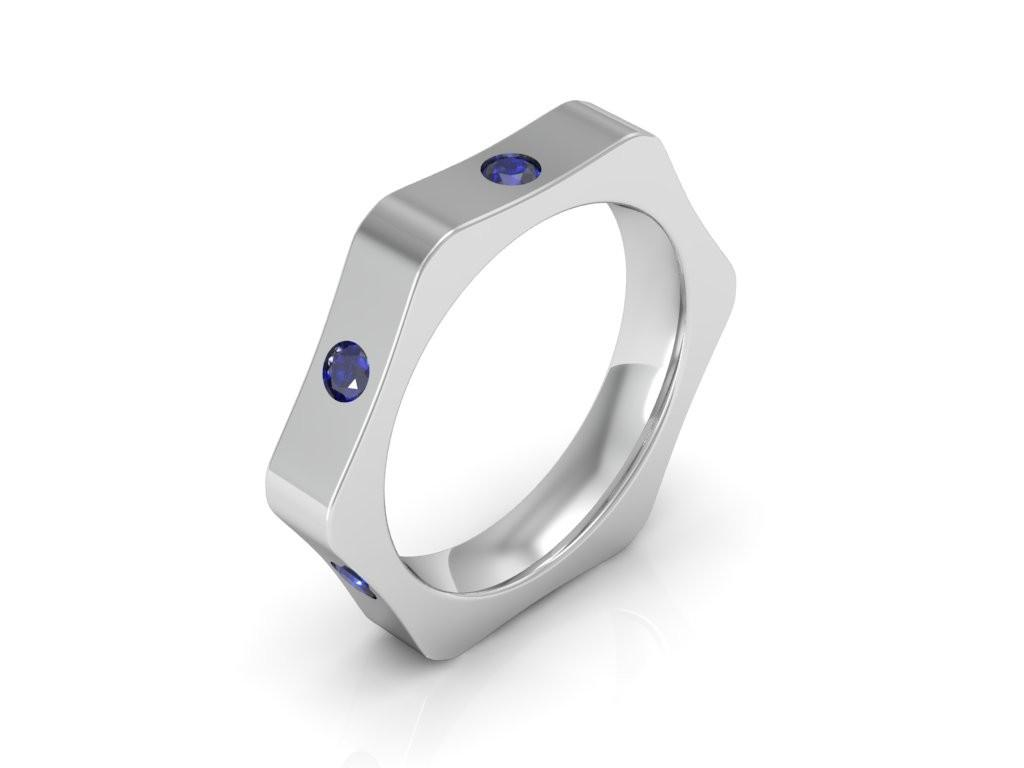Sapphire wedding band in nut