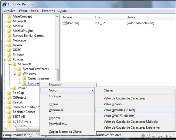 Clique com o botão direito na pasta Explorer, depois clique em Novo e em Valor DWORD 32 bits