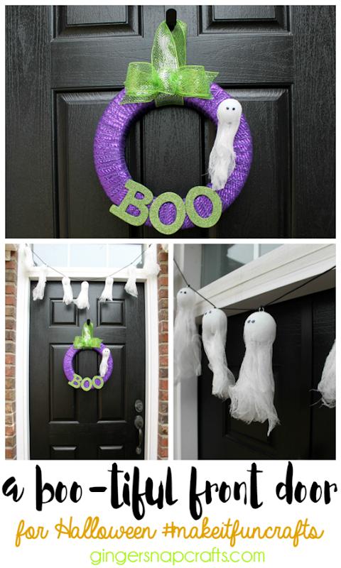 a Bootiful Front Door for Halloween #makeitfuncrafts   #ad