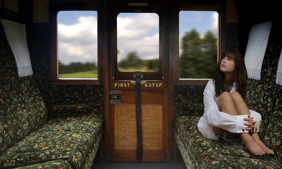 'First Class Ride' by Mike Lloyd - People Portraits of Women ( girl, train, travel, women )