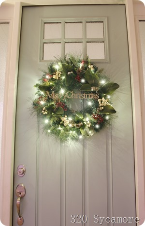 merry christmas lit wreath