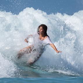 Catching waves by Yuval Shlomo - Sports & Fitness Surfing ( sur, woman, ocean, sports, surfing, sea, women )