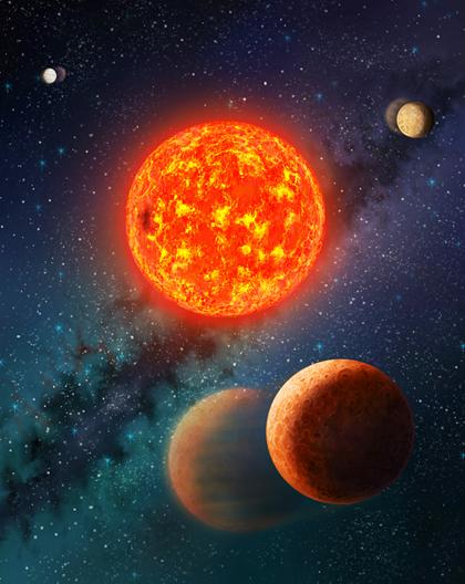ilustração do sistema planetário Kepler-138
