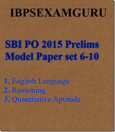 SBI PO Model Paper Ser 6-10