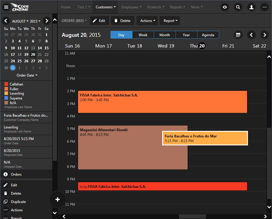 'Day' mode in calendar view of an app created with Code On Time.