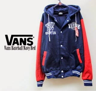 Jaket Vans Baseball Navy Red