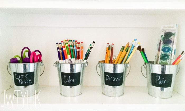 How to organize a craft and activity cabinet for kids