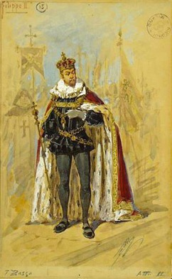 PERFORMANCE REVIEW: Giuseppe Verdi's DON CARLO at Wichita Grand Opera, 27 September 2015 [Image: Costume design for Filippo II in the Teatro alla Scala production of Verdi's revised version of the score in four acts, 1884]
