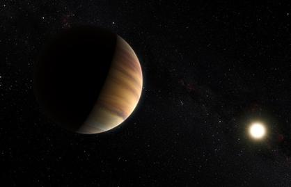 ilustração do exoplaneta 51 Pegasi b orbitando sua estrela
