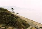 View of the beach and mountains from Takahama Shogakko (Takahama Elementary School).