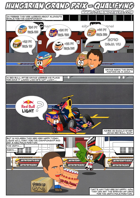 комикс Los MiniDrivers по квалификации Гран-при Венгрии 2012