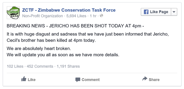 Zimbabwe Conservation Task Force (ZCTF) Facebook post on 1 August 2015: 'It is with huge disgust and sadness that we have just been informed that Jericho, Cecil's brother has been killed at 4pm today.' Graphic: ZCTF