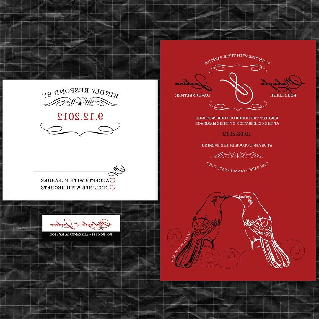 Wedding Invitation Suite with Matching RSVP Cards and Address Labels