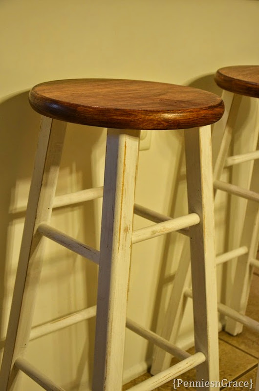 Distressed and stained stools
