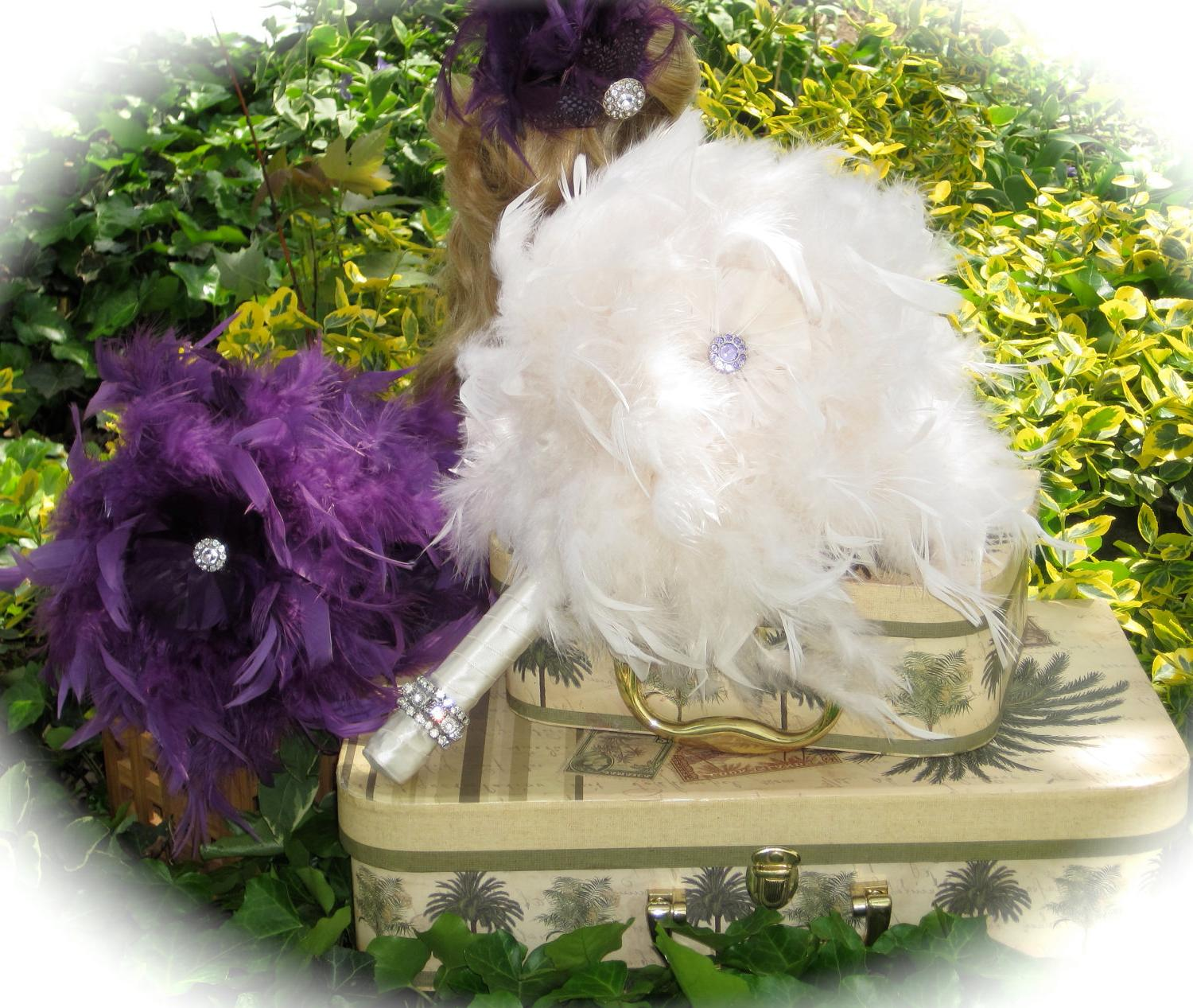 Whimsical Ivory Feather Wedding Bridal Bouquet & FREE Groom Boutonniere-