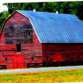 BARN WITH FACE OUTLINE by Douglas Edgeworth - Buildings & Architecture Architectural Detail (  )