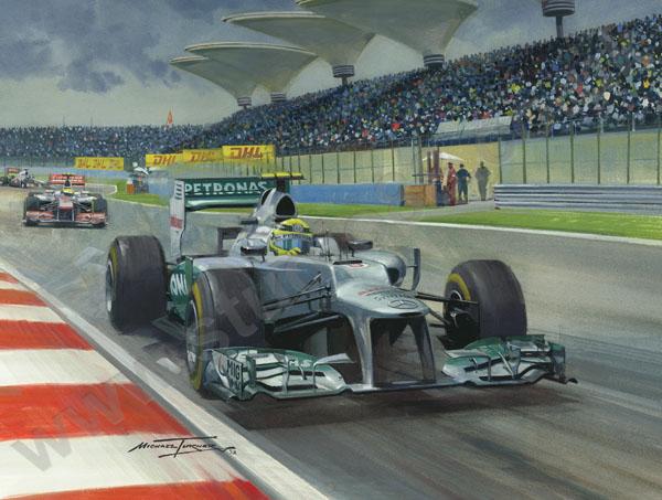 Нико Росберг за рулем Mercedes на Гран-при Китая 2012 - картина Michael Turner