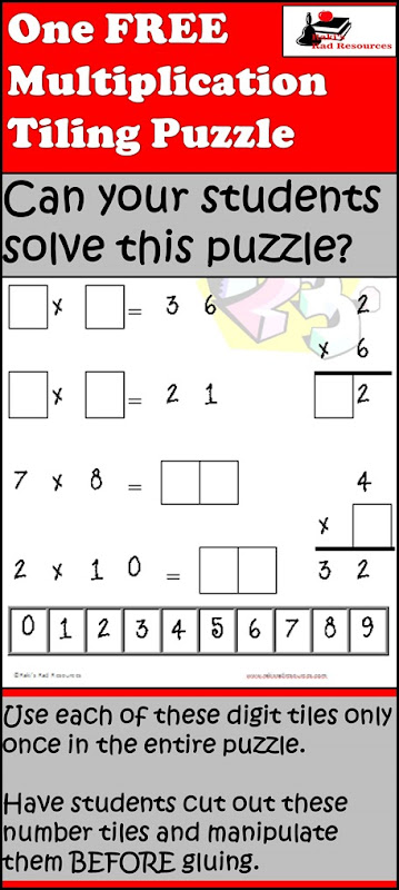 Free Download - Tiling Puzzle for Multiplication Facts. Makes a great math station or fast fact assessment. Free download from Raki's Rad Resources' Teachers Pay Teacher store.