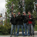 Stopping for a quick Backstreet Boys pose by the totem poles