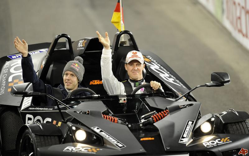Себастьян Феттель и Михаэль Шумахер за рулями болида KTM на Гонке чемпионов 2011