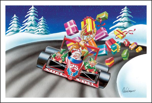 Санта на болиде везет подарки