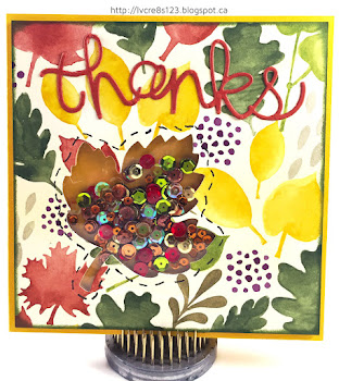 Linda Vich Creates: Autumn Leaf Shaker and Four Fuse Tool Tips. Sequins add sparkle to a leafy fall shaker card.