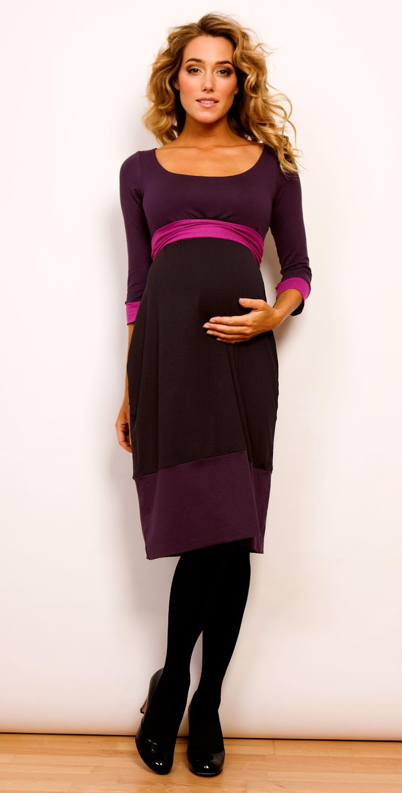 Colour Block Dress  Purple  by