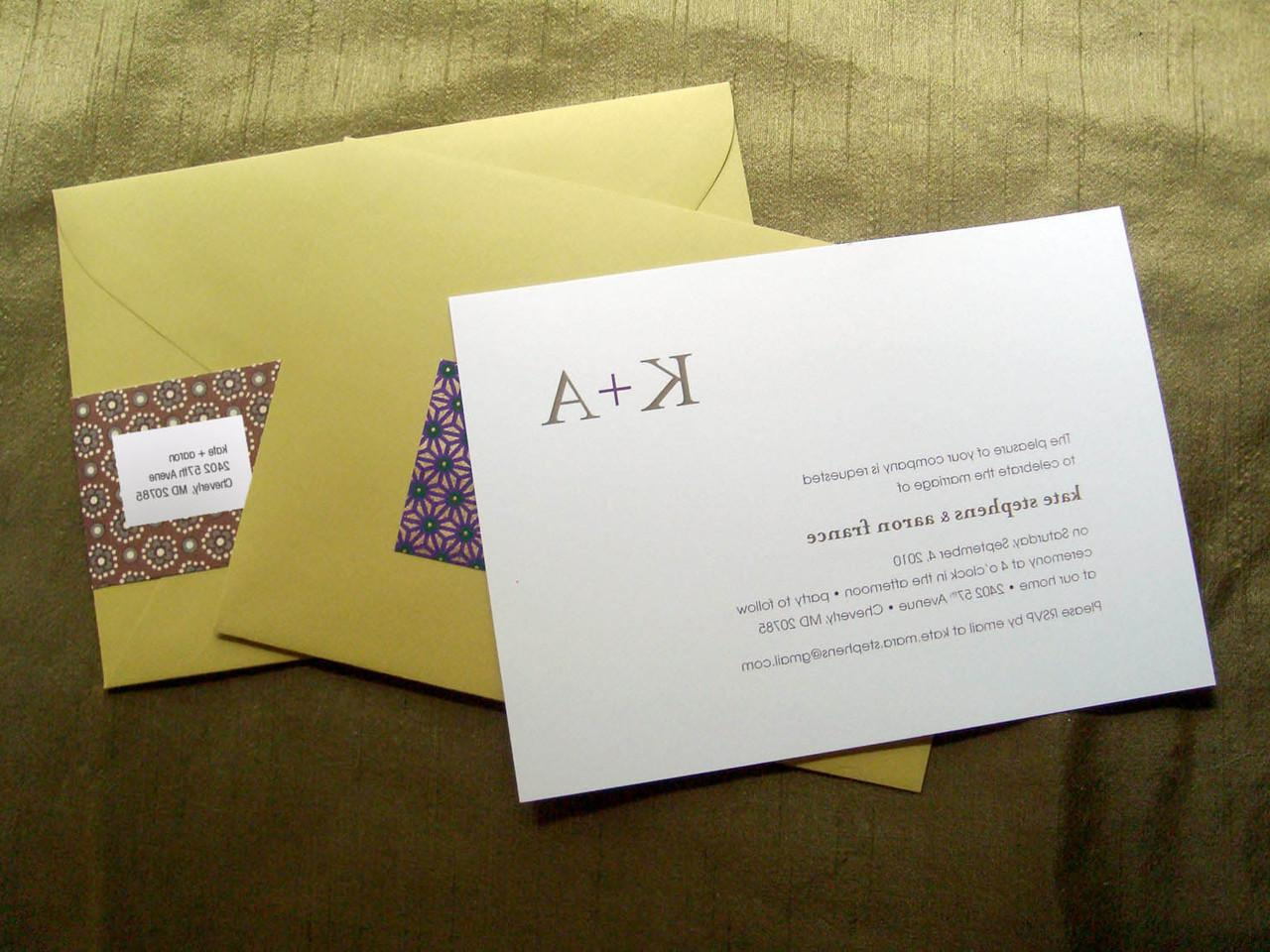 Wedding invitation with alternating pattern address labels