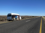 Our group, birding from the road in the Karoo
