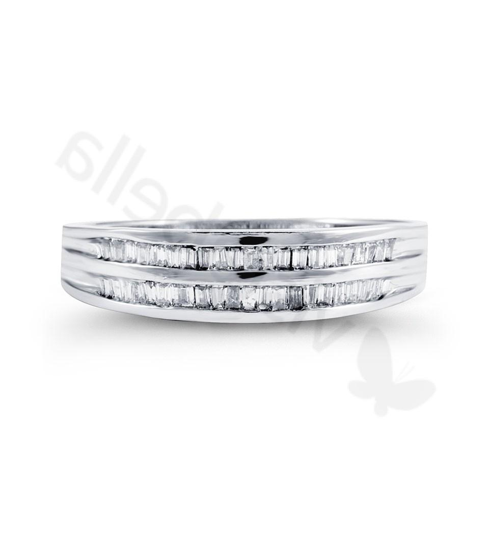 Solid 14k White Gold 0.69 Ct Baguette Wedding Band Ring - Wedding Bands