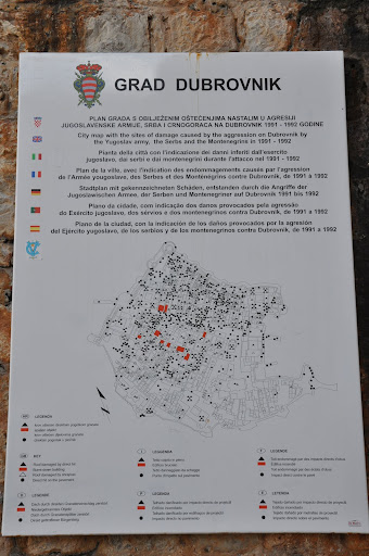 Map showing the damage in the 1991-1992 war