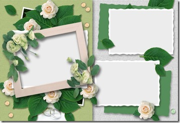 green leaves and rose frame